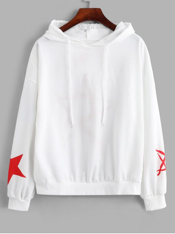 womens Drawstring Drop Shoulder Stars Graphic Hoodie - WHITE XL