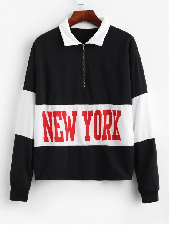 latest Contrast Color Half Zip Letter Print Graphic Sweatshirt - MULTI S