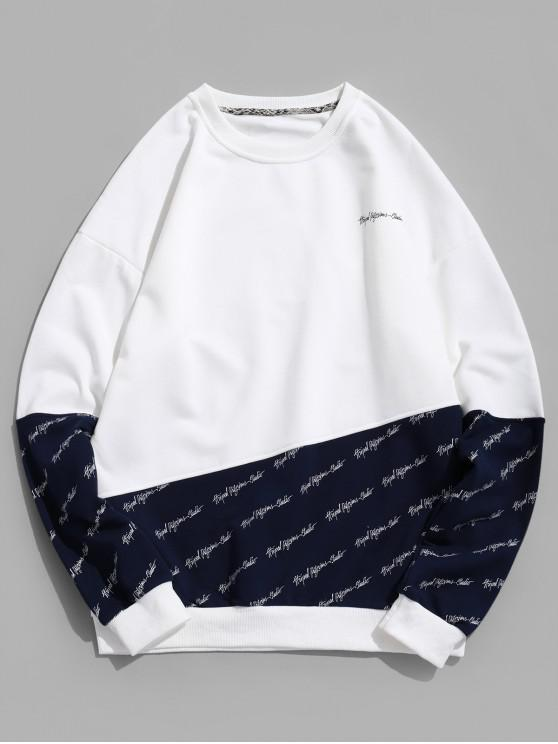 fancy Letter Print Drop Shoulder Contrast Pullover Sweatshirt - NAVY BLUE 2XL