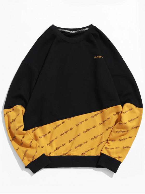 ladies Letter Print Drop Shoulder Contrast Pullover Sweatshirt - YELLOW M