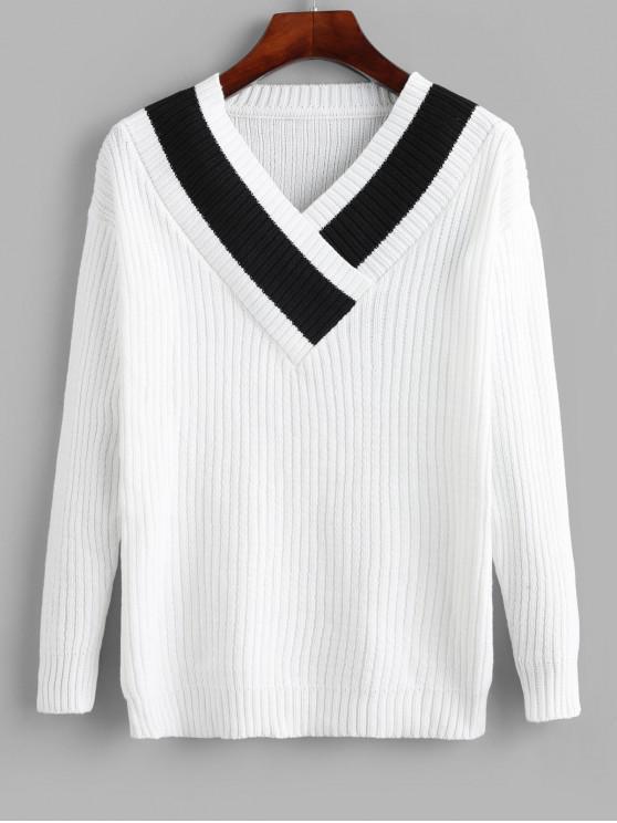 sale Pullover V Neck Colorblock Sweater - WHITE M