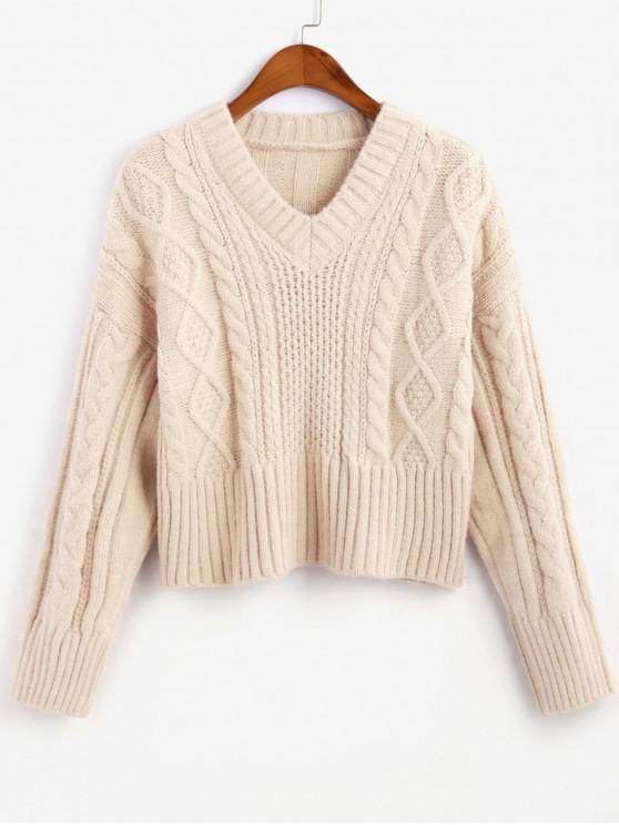 lady Cable Knit V Neck Solid Sweater - BEIGE ONE SIZE