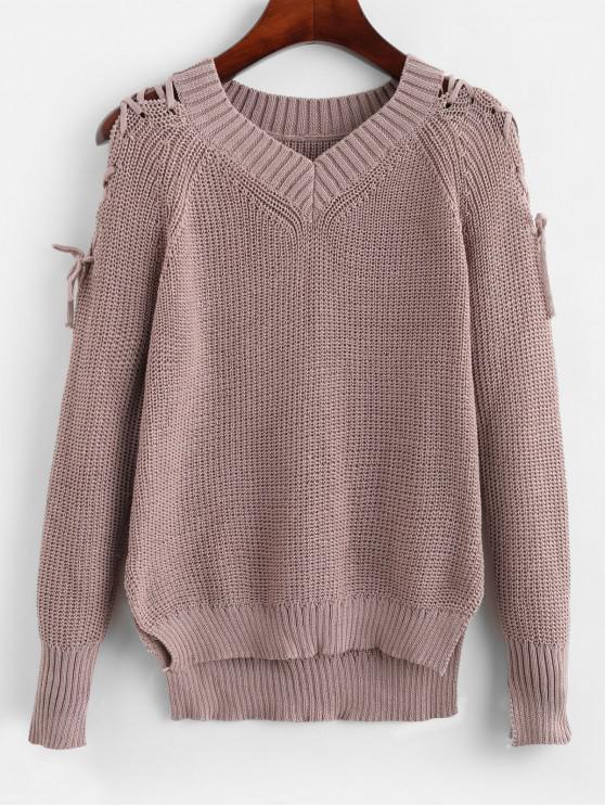 best Raglan Sleeve Lace Up High Low Slit Sweater - WISTERIA PURPLE XL