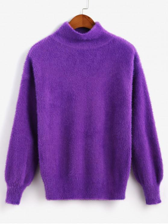 lady High Neck Lantern Sleeves Fluffy Solid Sweater - PURPLE ONE SIZE