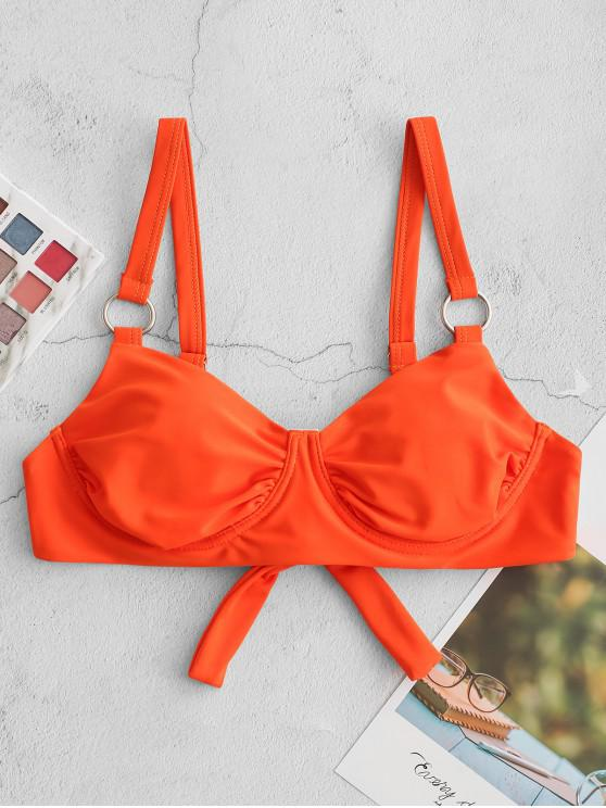 affordable ZAFUL Underwire O Ring Embellished Tie Back Bikini Top - ORANGE S
