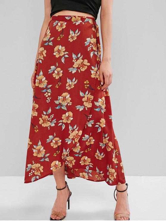 shop ZAFUL Flower Maxi Wrap Skirt - CHESTNUT RED S