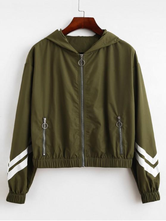 unique ZAFUL Striped Panel Hooded Pull Ring Zipper Jacket - ARMY GREEN S