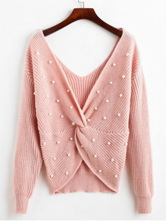 buy ZAFUL Pullover V Neck Twist Front Faux Pearls Sweater - PINK M