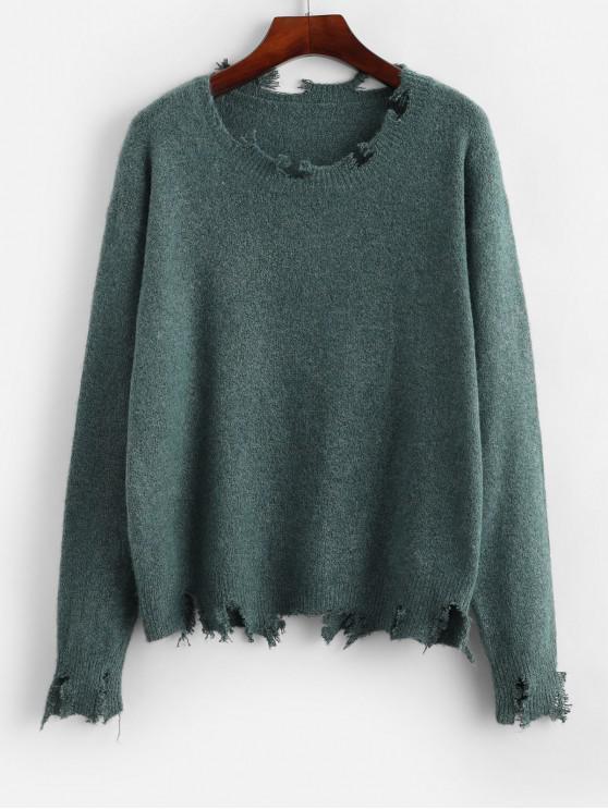 fancy ZAFUL Frayed Drop Shoulder Jumper Sweater - LIGHT SEA GREEN S