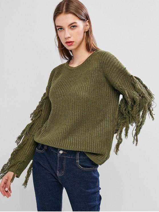 new Drop Shoulder Tassel Jumper Sweater - FERN GREEN S
