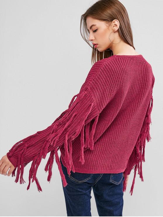 Drop Shoulder Tassel Jumper Sweater - Rogue Pink Xl   ZAFUL