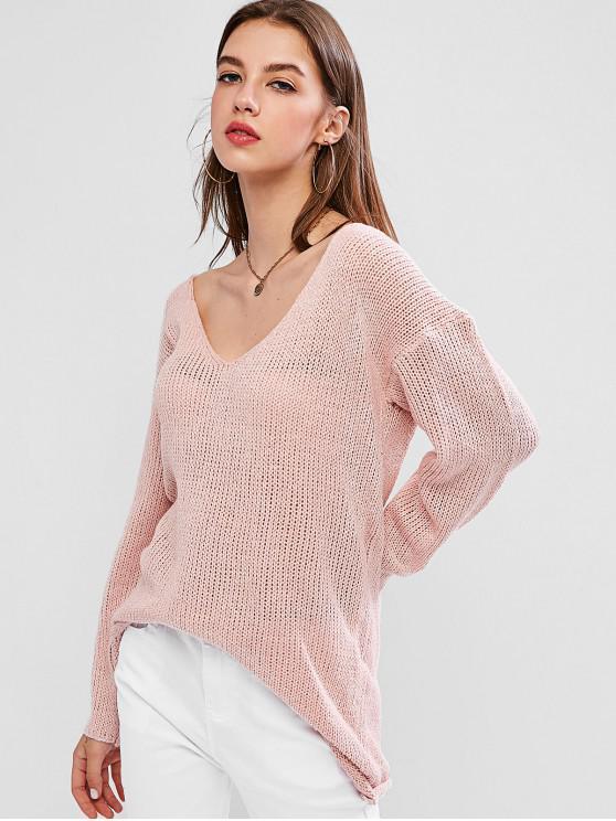 online Drop Shoulder Plunging High Low Sweater - ROSE M