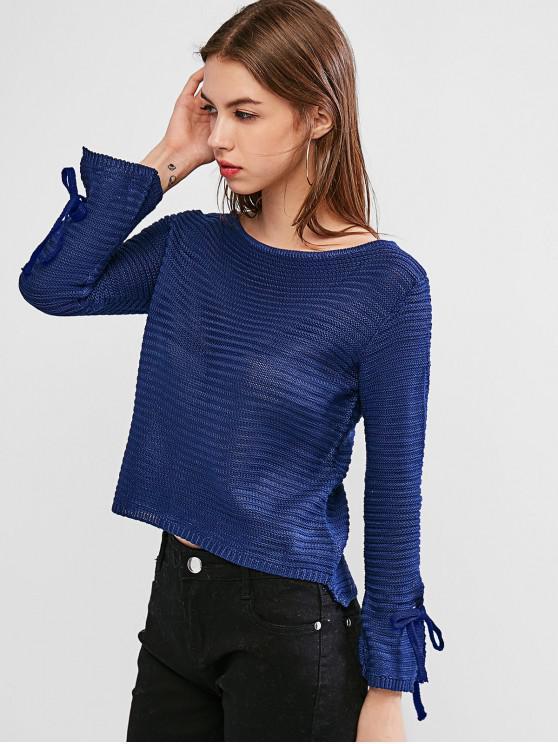 Круглый воротник С бантом Пуловер Свитер - Лазурит-синий M