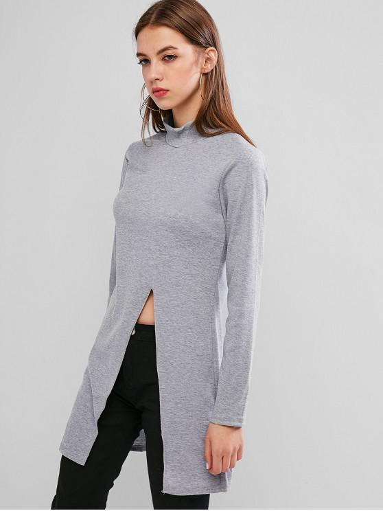affordable High Neck Side Slit Ribbed Knitwear - LIGHT GRAY S