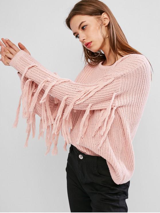 Плечо падения С бахромой Свитер - Розовый L