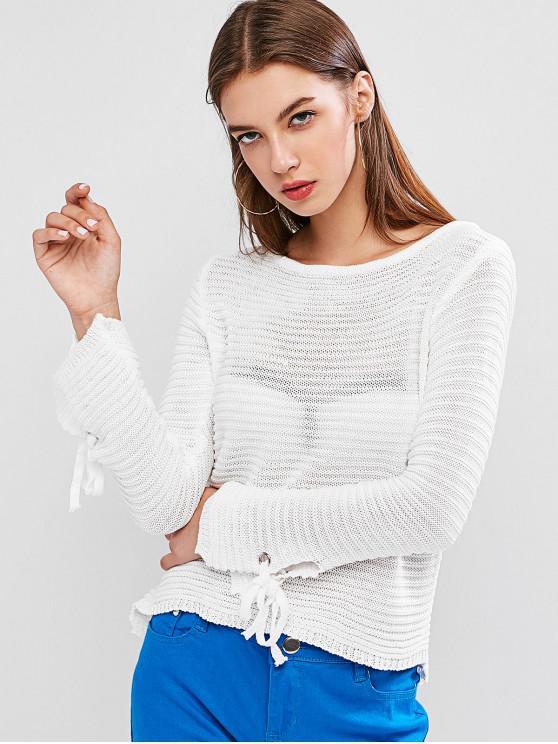 unique Scoop Neck Tie Cuffs Pullover Sweater - WHITE L