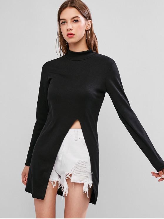 latest High Neck Side Slit Ribbed Knitwear - BLACK L