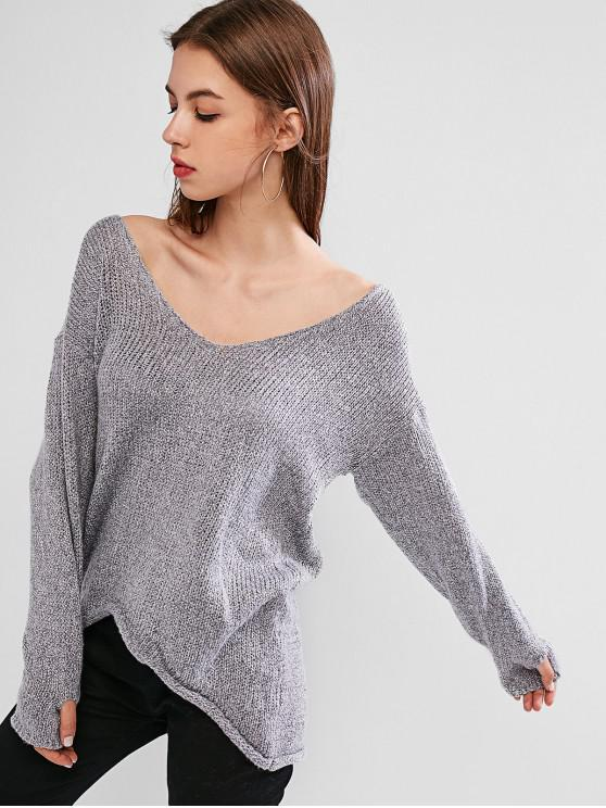 trendy Drop Shoulder Plunging High Low Sweater - GRAY CLOUD XL