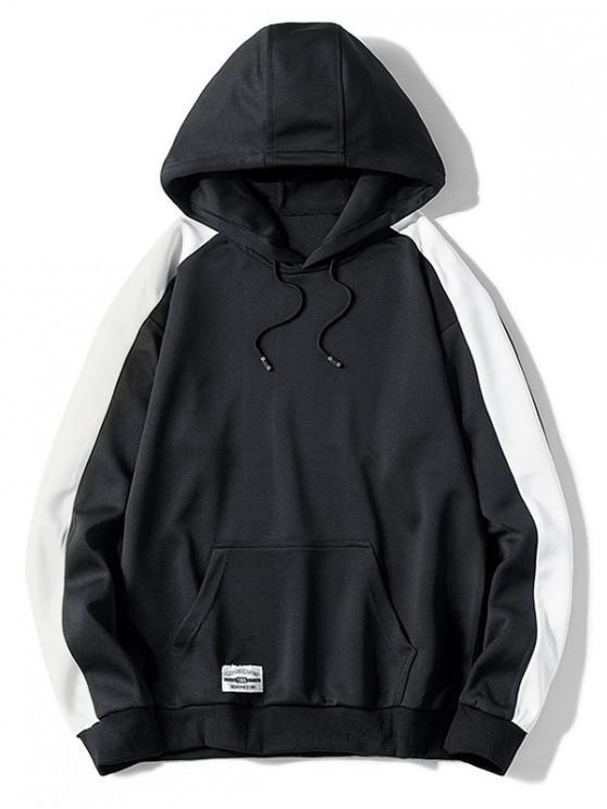 chic Contrast Color Splicing Applique Pullover Hoodie - BLACK XS