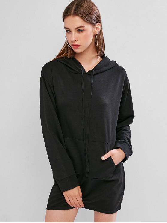 latest Kangaroo Pocket Mini Drawstring Hoodie Dress - BLACK XL