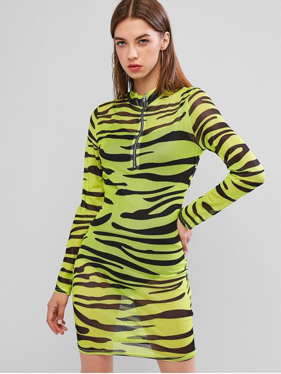 online Half Zip Tiger Print Mesh Club Dress - GREEN YELLOW M