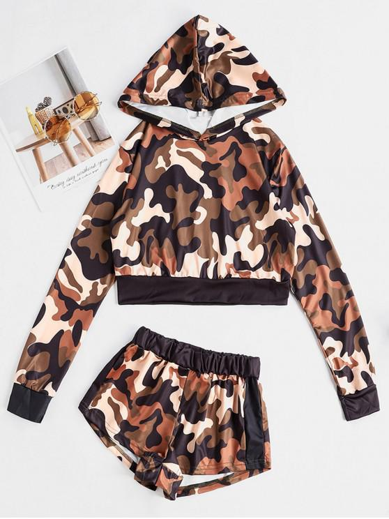 new Two Piece Camouflage Cropped Hoodie And Shorts Set - MULTI-A XL
