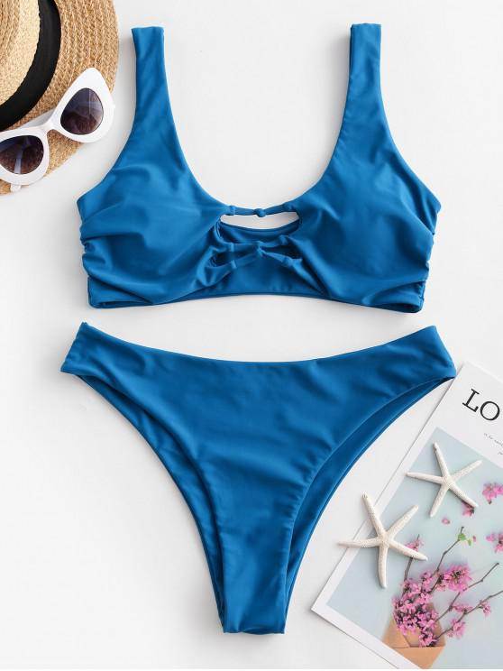 new ZAFUL Hollow Out High Leg Tank Bikini Swimsuit - BLUEBERRY BLUE M
