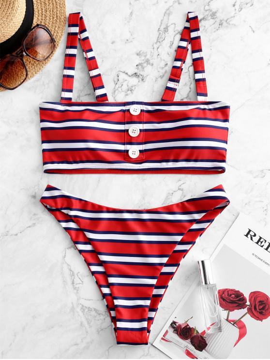 latest ZAFUL Striped Button Embellished Tank Bikini Swimsuit - MULTI-A S