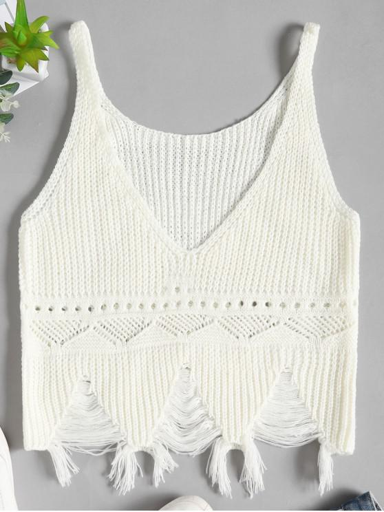 shops Distressed Sweater Tank Top - WHITE ONE SIZE