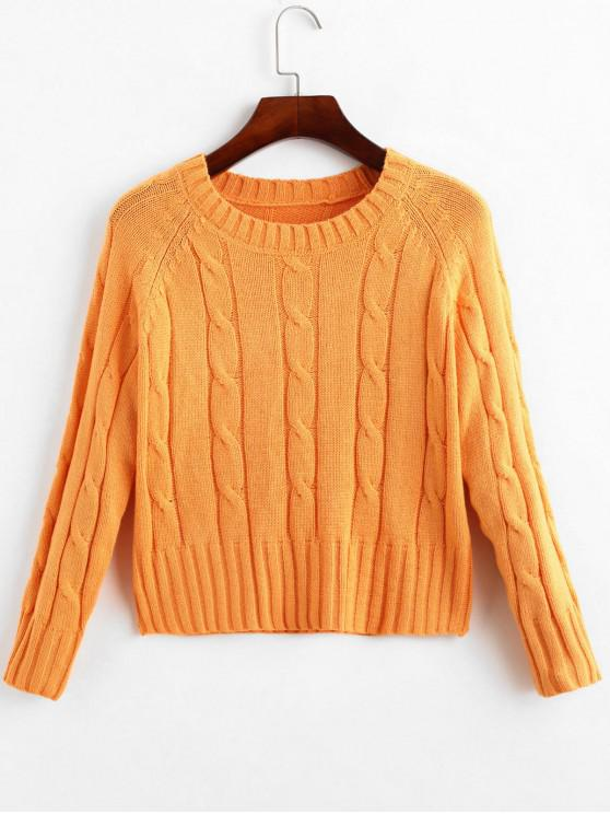 outfits Raglan Sleeve Crew Neck Cable Knit Sweater - SANDY BROWN ONE SIZE
