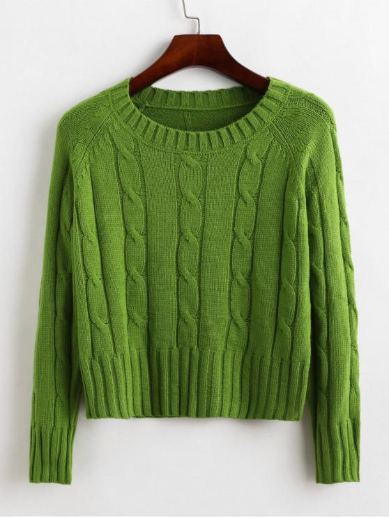unique Raglan Sleeve Crew Neck Cable Knit Sweater - PINE GREEN ONE SIZE