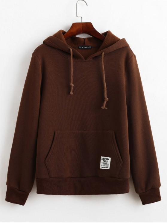 ZAFUL巾着スローガンパッチが適用されたフロントポケットパーカー - 濃い茶色 M