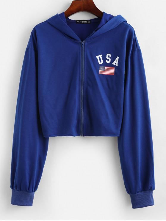 women's ZAFUL Cropped Zip Up American Flag Hoodie - BLUEBERRY BLUE M