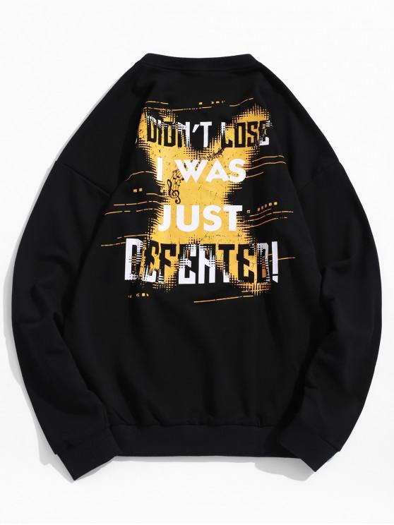 womens Drop Shoulder Graphic Sweatshirt - BLACK XL