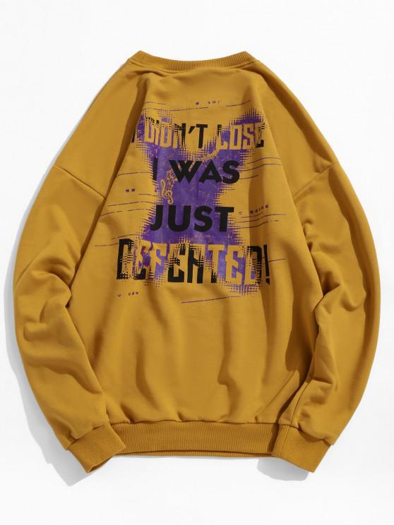 buy Drop Shoulder Graphic Sweatshirt - YELLOW M