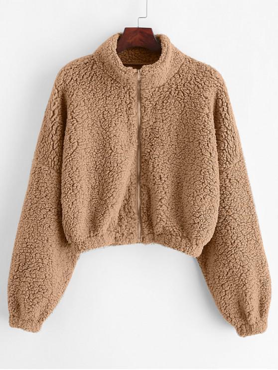 women ZAFUL Drop Shoulder Zip Up Teddy Coat - KHAKI S