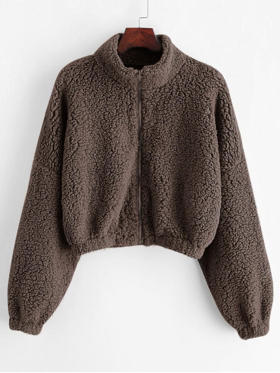 Popular Zaful Drop Shoulder Zip Up Teddy Coat   Coffee M by Zaful