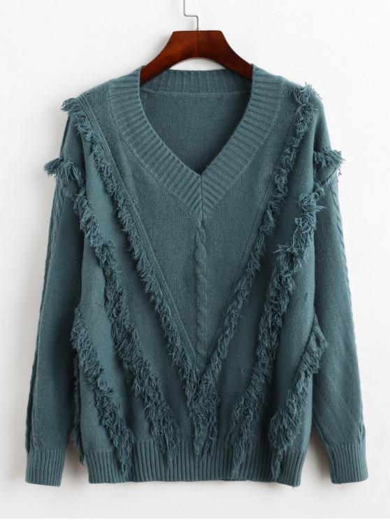 outfits Fringe Cable Knit Sweater - BLUE KOI ONE SIZE