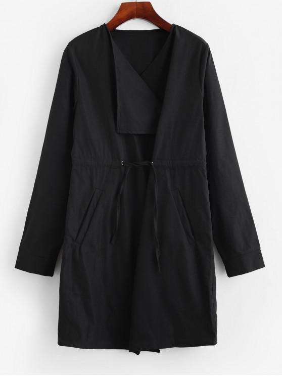 women's Pockets Drawstring Skirted Longline Coat - BLACK XL