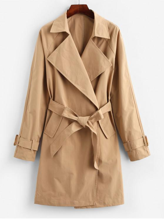 trendy ZAFUL Pockets Solid Belted Trench Coat - KHAKI L