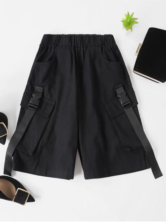 trendy Pocket Buckle Bermuda Shorts - BLACK L
