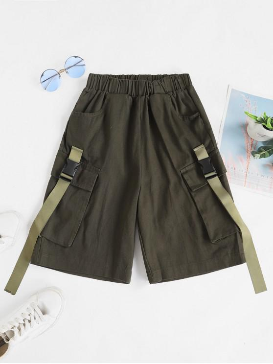 affordable Pocket Buckle Bermuda Shorts - ARMY GREEN L