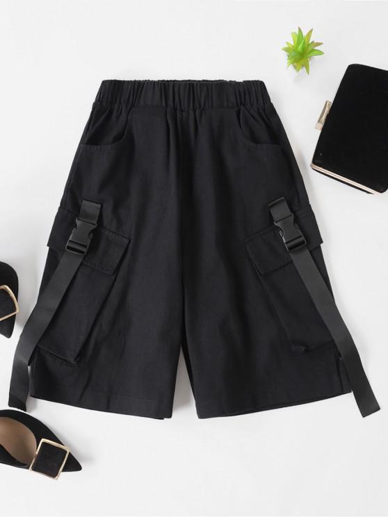 Pantalones cortos del bolsillo de la hebilla de Bermudas - Negro M