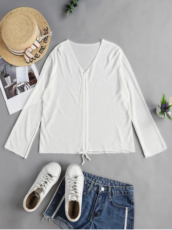 Пуловер V-воротник Свитер - Белый Один размер