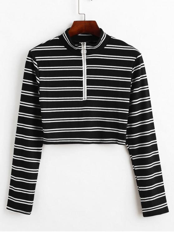 women's Half Zip Stripe Cropped Knit Top - BLACK M