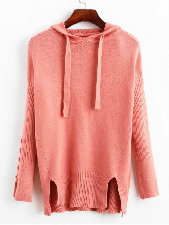 fashion Drawstring Buttoned Slit Hooded Sweater - LIGHT CORAL ONE SIZE