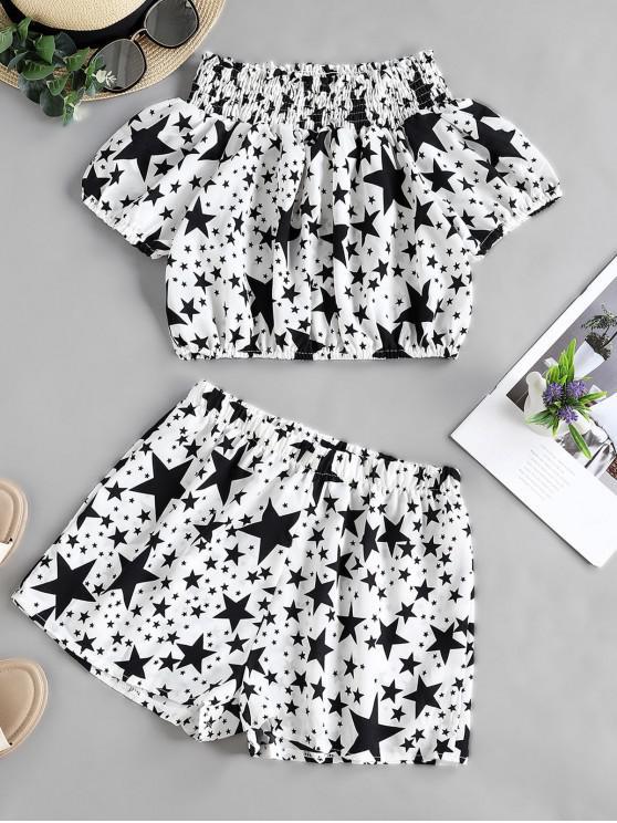 trendy Star Print Off Shoulder Smocked Frilled Two Piece Set - WHITE S