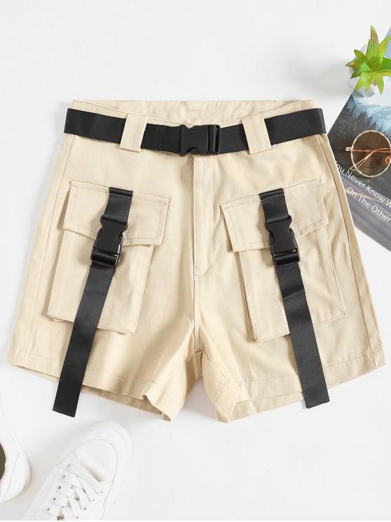 lady Belted Buckle Zipper Fly Cargo Shors - LIGHT KHAKI M