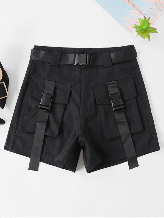 Belted Пряжка Zipper Fly Cargo Shorts - Чёрный L