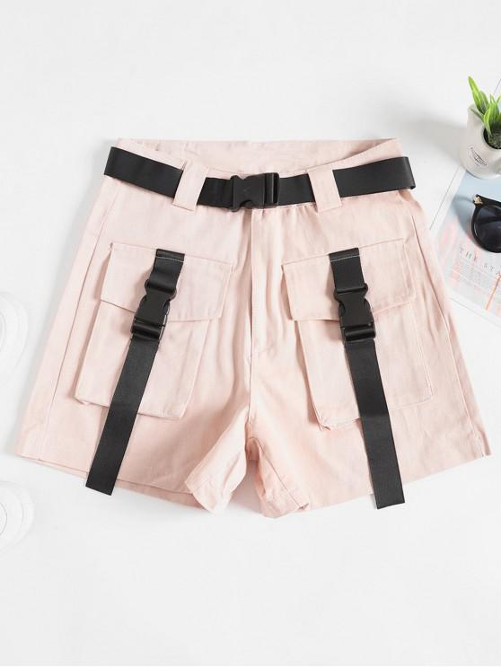 chic Belted Buckle Zipper Fly Cargo Shors - PINK M